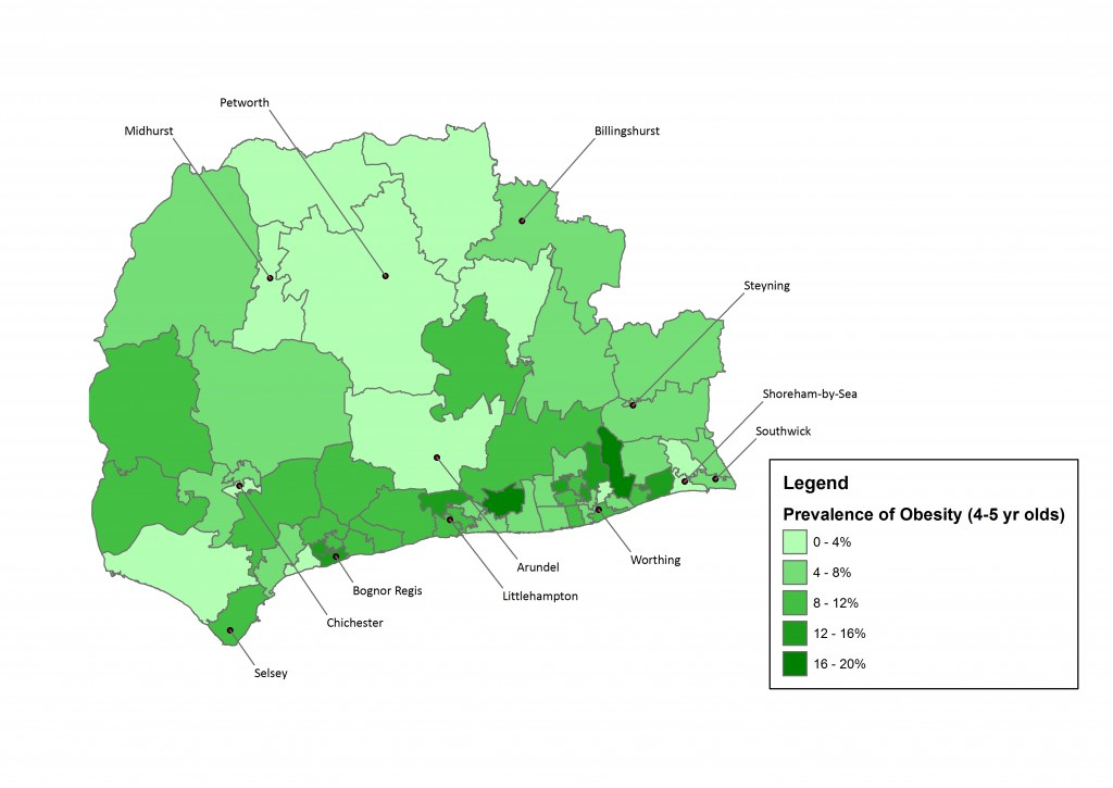 Prevalence of 4-5 year olds measured as obese (population definition) by resident middle-super output area (2014/15). Source: NCMP data.