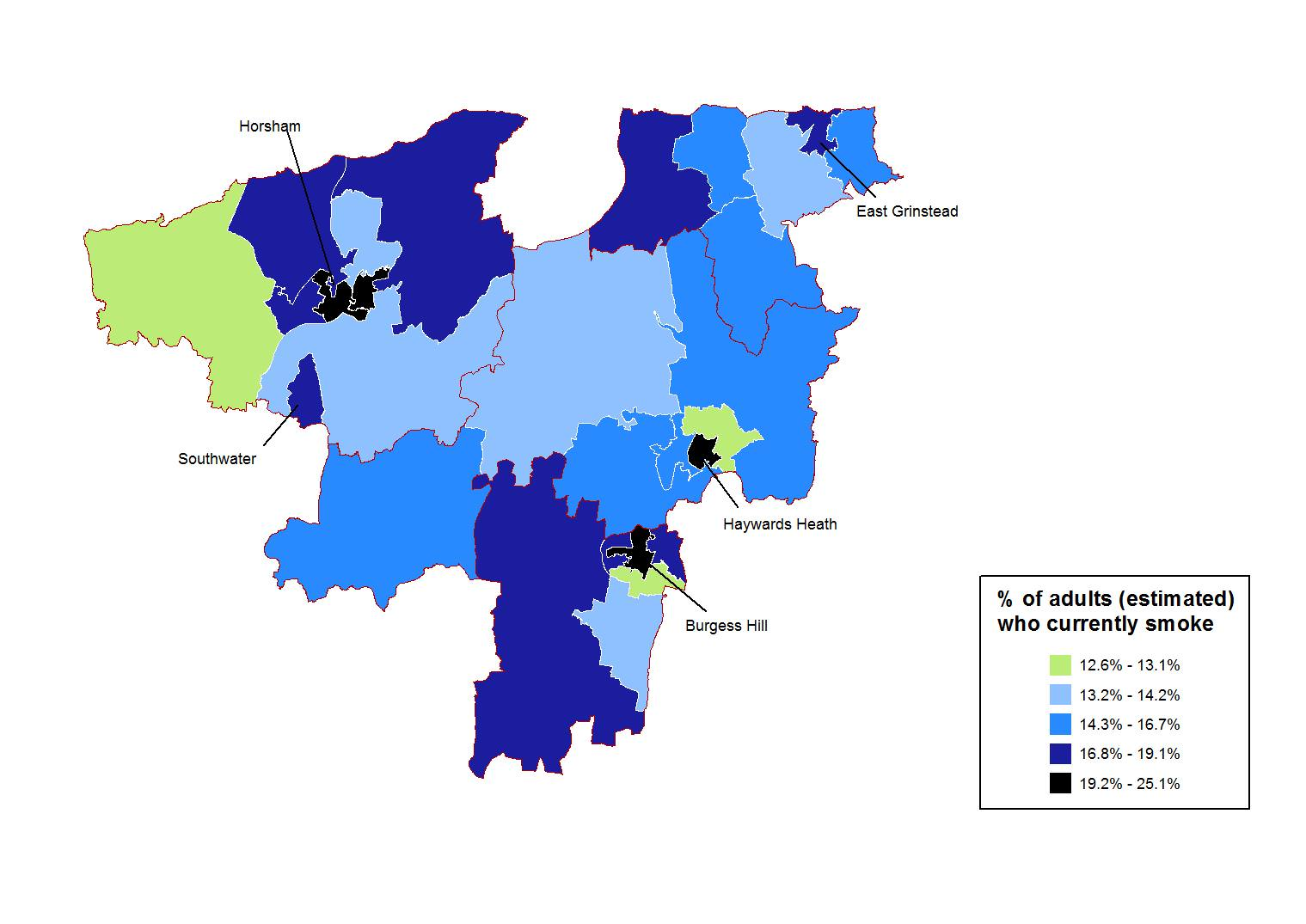 Modelled prevalence of smoking in 16+ year olds in West Sussex at MSOA level.
